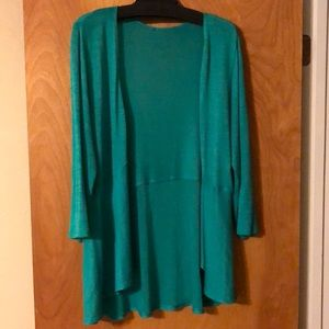 Sweaters - Teal green, light-weight sweater cardigan.
